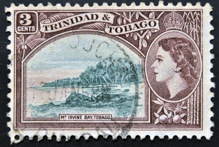 TRINIDAD AND TOBAGO - CIRCA 1953: A stamp printed in Trinidad and Tobago shows Irvine Bay, circa 1953