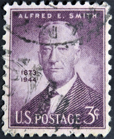 UNITED STATES OF AMERICA - CIRCA 1945: a stamp printed in USA shows Alfred E. Smith, 42nd governor of New York 1923-1928, circa 1945