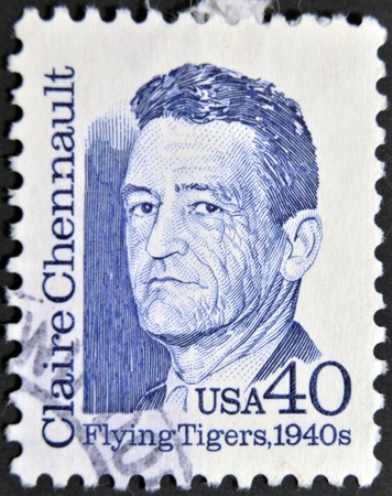 united states postal service: USA - CIRCA 1988 : stamp printed in USA shows of Claire Chennault, the American aviator, series, circa 1988   Editorial