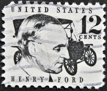 founder: USA - CIRCA 1997 : stamp printed in USA show American industrialist, the founder of the Ford Motor Company Henry Ford, circa 1997 Editorial