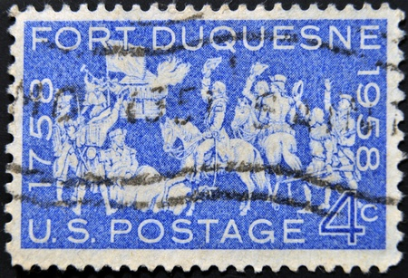fire surround: UNITED STATES - CIRCA 1958: stamp printed by Umited States, shows Occupation of Fort Duquesne, circa 1958
