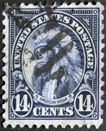 sioux: USA - CIRCA 1923- a stamp printed in USA shows Chief Hollow Horn Bear of the Brule Sioux tribe , circa 1923.   Editorial