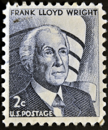frank: UNITED STATES OF AMERICA - CIRCA 1966: stamp printed by USA, shows Frank Lloyd Wright was an American architect, circa 1966