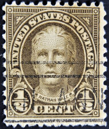 hale: UNITED STATES OF AMERICA - CIRCA 1925: A stamp printed in USA shows young American patriot Nathan Hale, circa 1925 Editorial