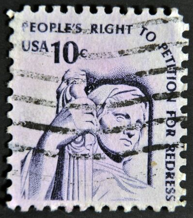 UNITED STATES OF AMERICA  - CIRCA 1975: A stamp printed in the USA shows Contemplation of Justice (statue, J. E. Fraser), circa 1975