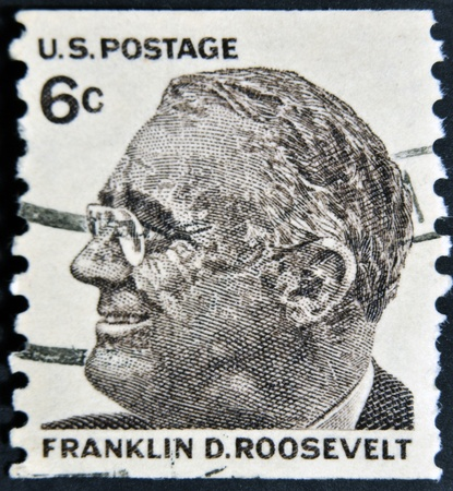 delano: USA-CIRCA 1966:A stamp printed in USA shows image of the Franklin Delano Roosevelt, circa 1966.