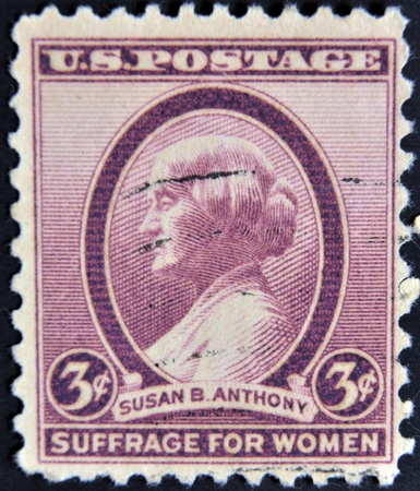 UNITED STATES OF AMERICA - CIRCA 1936: A stamp printed by USA shows a profile of Susan B Anthony, circa 1936.