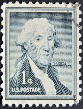 UNITED STATES OF AMERICA - CIRCA 1954: a stamp printed in USA shows George Washington, first president of USA 1789-1797, circa 1954