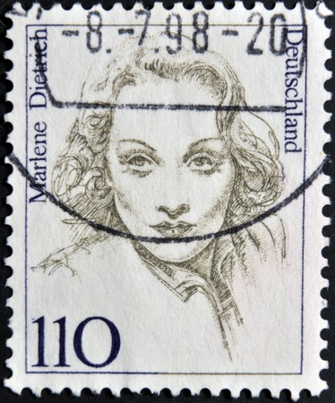 GERMANY - CIRCA 1997: A stamp printed in Germany shows Marlene Dietrich, circa 1997