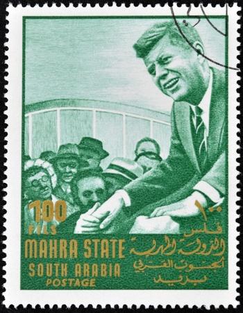 john fitzgerald kennedy: SOUTH ARABIA - CIRCA 1967: stamp printed by South Arabia, shows John Fitzgerald Kennedy, circa 1967.
