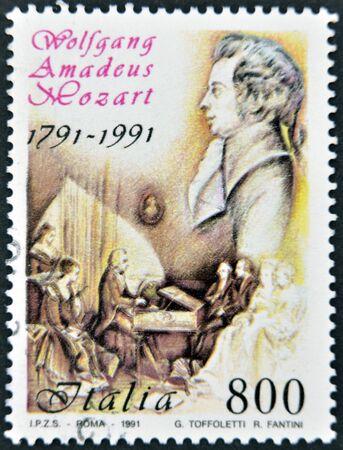 amadeus: ITALY - CIRCA 1991: A stamp printed in Italy shows Wolfgang Amadeus Mozart, circa 1991  Editorial