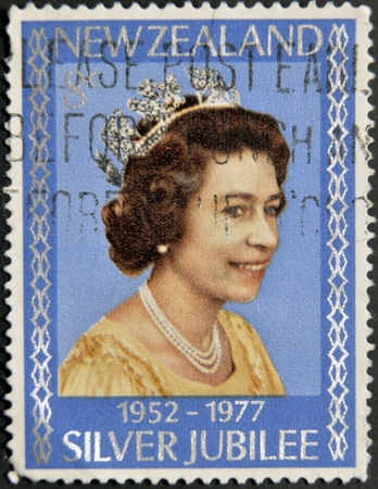 NEW ZELAND - CIRCA 1977: A Stamp printed in New Zealand showing Portrait of Queen Elizabeth, circa 1977.