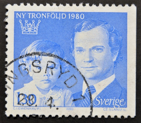 king carl xvi gustaf: SWEDEN - CIRCA 1980: a stamp printed in the Sweden shows King Carl XVI Gustaf and Crown Princess Victoria, circa 1980  Editorial