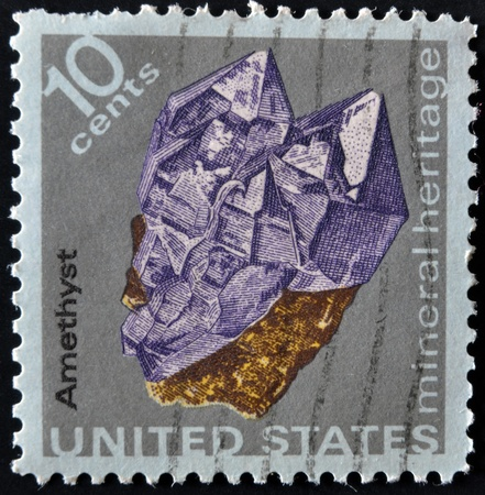 amethyst: USA - CIRCA 1974: A stamp printed in the USA shows amethyst, mineral heritage, circa 1974