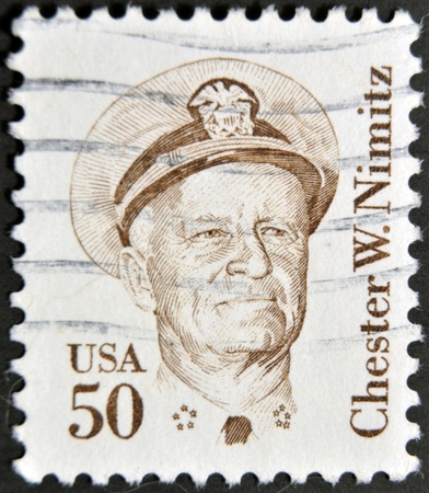 united states postal service: USA - CIRCA 1985: A stamp printed in the USA shows image of Chester W. Nimitz, circa 1985  Editorial