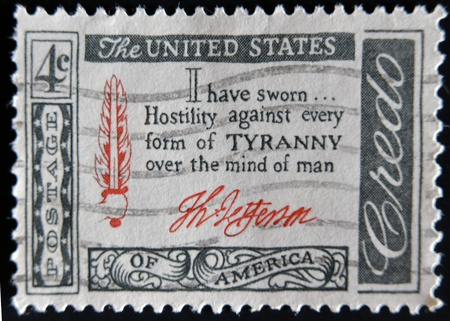 USA - CIRCA 1960 : A stamp printed in the USA shows Credo I have sworn...Hostility against every form of Tyranny over the mind of man, circa 1960