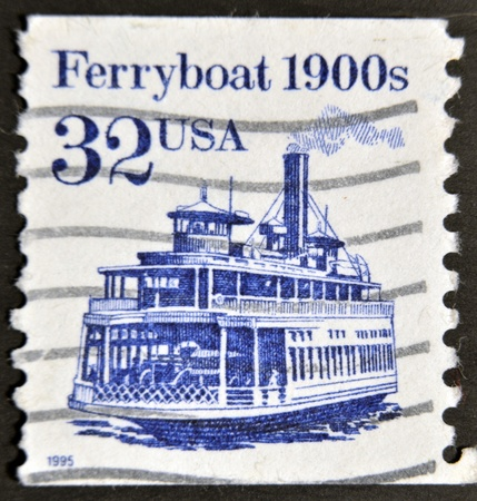 united states postal service: UNITED STATES OF AMERICA - 1995: A stamp printed in USA shows image of a ferryboat, circa 1995