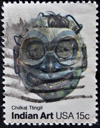 tlingit: USA - CIRCA 1980 : A stamp printed in the USA shows chilkat tlingit, Indian Art, circa 1980