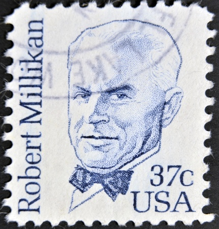 physicist: USA - CIRCA 1982 : stamp printed in the USA shows Robert Andrews Millikan American experimental physicist, circa 1982