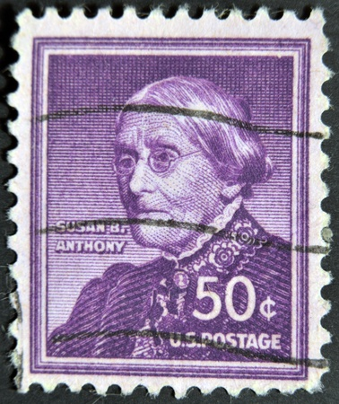 pivotal: USA - CIRCA 1940: A stamp printed in USA shows portrait of Susan B. Anthony, circa 1940  Editorial