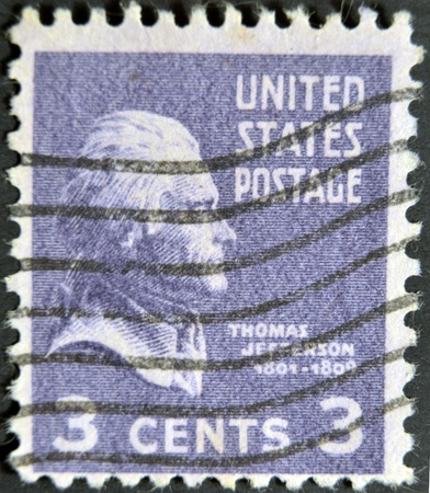 USA - CIRCA 1946: A stamp printed in USA shows portrait Thomas Jefferson President of the United States, circa 1946.