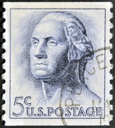 USA - CIRCA 1962: A stamp printed in USA shows image portrait George Washington (1732-1799), the first president of USA, circa 1962  Stock Photo - 12201250