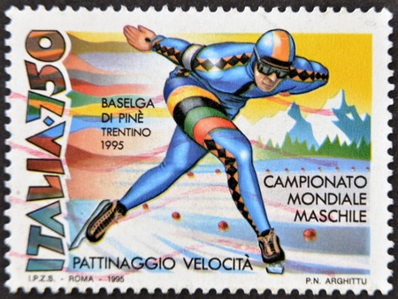 ITALY - CIRCA 1995: A stamp printed in Italy dedicated to men's world championship speed skating, circa 1995 Stock Photo - 12228723