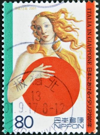 JAPAN - CIRCA 2001: A stamp printed in Japan shows Botticellis Venus, covering with Japanese symbol, circa 2001