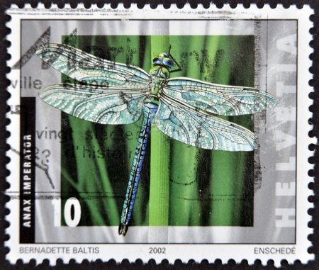 SWITZERLAND - CIRCA 2002: A stamp printed in Switzerland shows a dragonfly, Anax imperator, circa 2002 photo