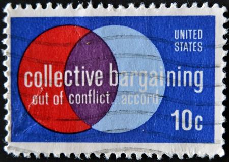 collective bargaining: USA - CIRCA 1975 : A stamp printed in the USA shows Collective Bargaining: Out of Conflict &acirc,%uFFFD&brvbar, Accord, circa 1975