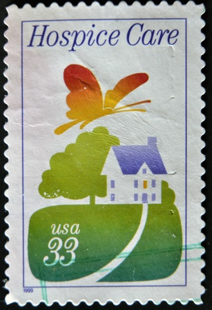 UNITED STATES - CIRCA 1999: A stamp printed in USA shows hospice in the fields, circa 1999 Stock Photo - 12207264