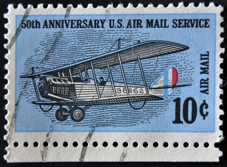 USA - CIRCA 1968: A stamp printed in the USA dedicated to 50th anniversary U.S. Air Mail Service, circa 1968  photo