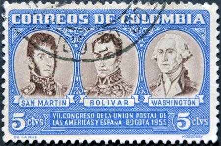 COLOMBIA - CIRCA 1955: A stamp printed in Colombia shows San Martin, Simon Bolivar and George Washington, circa 1955