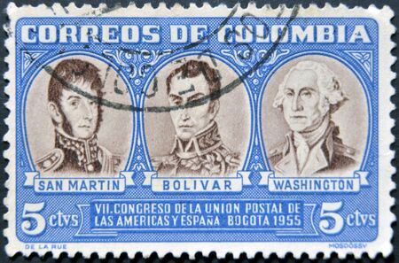 liberator: COLOMBIA - CIRCA 1955: A stamp printed in Colombia shows San Martin, Simon Bolivar and George Washington, circa 1955