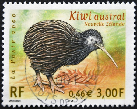 postage stamp: FRANCE - CIRCA 2000: A stamp printed in France shows Southern kiwi, circa 2000 Stock Photo