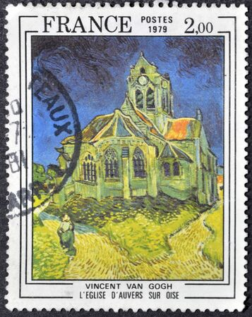van gogh: FRANCE - CIRCA 1979: A stamp printed in France shows church of Auvers-sur-Oise by Vincent Van Gogh, circa 1979 Editorial