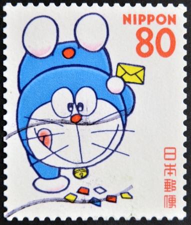 JAPAN - CIRCA 2000: A stamp printed in japan shows Doraemon , circa 2000  Stock Photo - 12201312