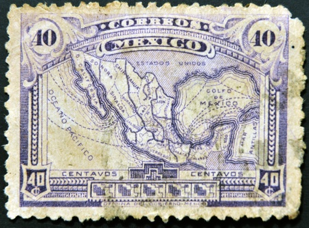 MEXICO - CIRCA 1915: A stamp printed in Mexico shows map of mexico with the rail network, circa 1915