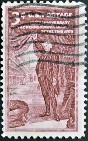 USA - CIRCA 1955 : A stamp printed in the USA shows 150th Anniversary The Pennsylvania academy of the fine arts, circa 1955  photo
