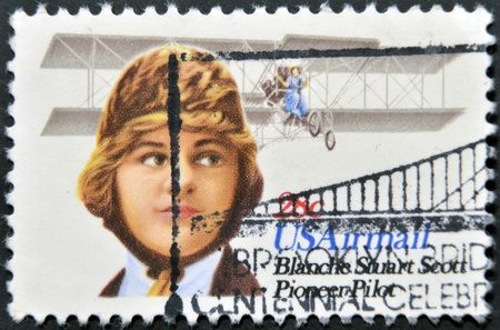 united states postal service: UNITED STATES OF AMERICA - CIRCA 1980: A stamp printed in the USA shows image of Blanche Stuart Scott, the aviation pioneer, circa 1980
