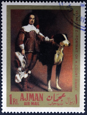 velazquez: AJMAN - CIRCA 1968: A stamp printed in Ajman shows portrait of a court dwarf by Velazquez, circa 1968 Editorial