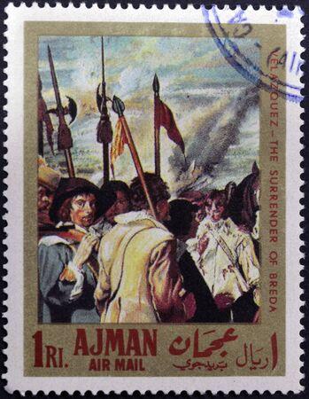 velazquez: AJMAN - CIRCA 1968: A stamp printed in Ajman shows the surrender of Breda by Velazquez, circa 1968 Stock Photo
