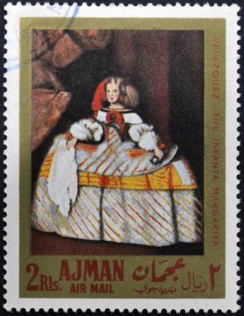 velazquez: AJMAN - CIRCA 1968: A stamp printed in Ajman shows the Infanta Margarita by Velazquez, circa 1968 Stock Photo