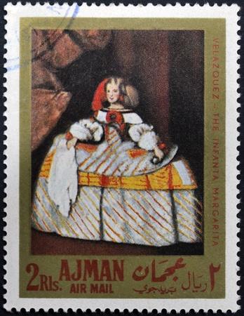 velazquez: AJMAN - CIRCA 1968: A stamp printed in Ajman shows the Infanta Margarita by Velazquez, circa 1968 Stock Photo