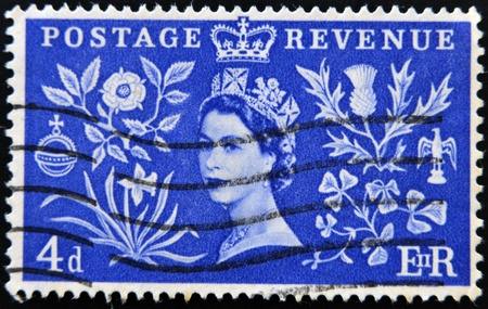 the majesty: UNITED KINGDOM - CIRCA 1950: Stamp printed in Great Britain shows queen Elizabeth II, circa 1950