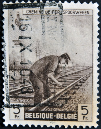 BELGIUM - CIRCA 1940: A styamp printed in Belgium shows railways spoorwegen, circa 1940 photo