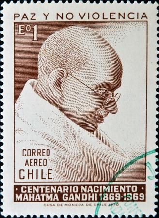 CHILE - CIRCA 1970: A stamp printed in chiles shows Mahatma Gandhi, circa 1970