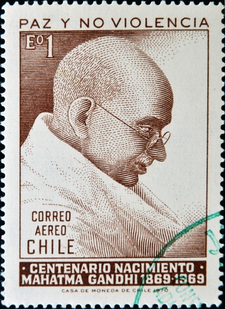 indian postal stamp: CHILE - CIRCA 1970: A stamp printed in chiles shows Mahatma Gandhi, circa 1970