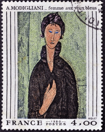 FRANCE - CIRCA 1980: A stamp printed in France shows the work woman with blue eyes of Modigliani, circa 1980 photo