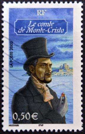 philatelist: FRANKREICH - CIRCA 2003: Ein Stempel in Frankreich gedruckt zeigt Graf von Monte Christo, circa 2003 Editorial